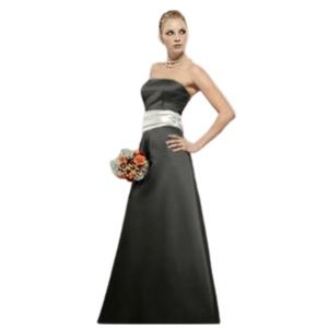 Bill Levkoff | Black Strapless Dress W Ivory Bow